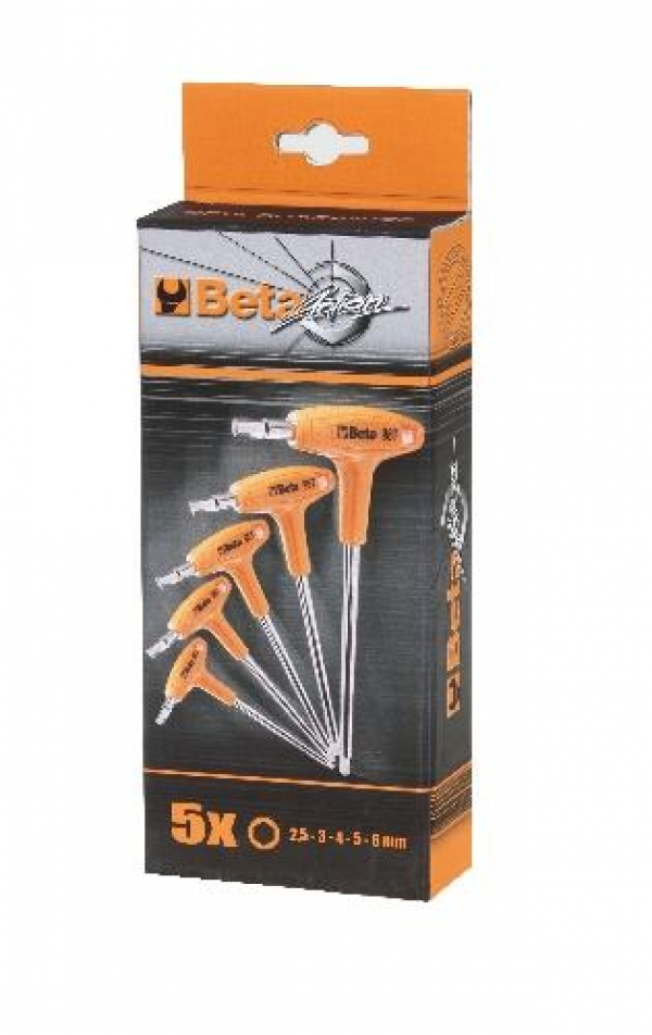 Set of 5 Beta Tools Allen Key T Bar 2.5 - 6mm