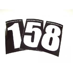 White Number Black Background Pack of Four