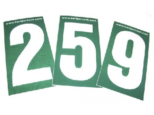 White Number Green Background Pack of Four
