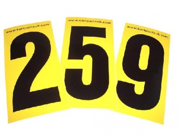 Black Number Yellow Background Pack of Four