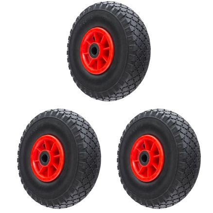 Pack of 3 Plastic Pneumatic Trolley Wheels